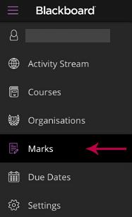 The 'Marks' tab on the Blackboard App menu